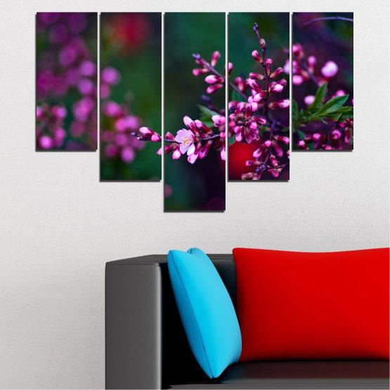 Εκτύπωση σε καμβά και διακοσμητικά πάνελ τοίχου - 5 τεμάχια №0278 » Κόκκινος, Μωβ, Πράσινος, Μαύρος, Σκούρο γκρι » Λουλούδια, Άνοιξη, Φρέσκο Form #6