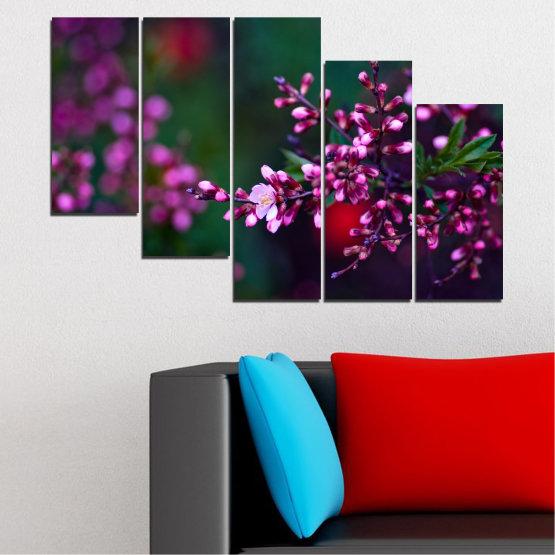Εκτύπωση σε καμβά και διακοσμητικά πάνελ τοίχου - 5 τεμάχια №0278 » Κόκκινος, Μωβ, Πράσινος, Μαύρος, Σκούρο γκρι » Λουλούδια, Άνοιξη, Φρέσκο Form #7