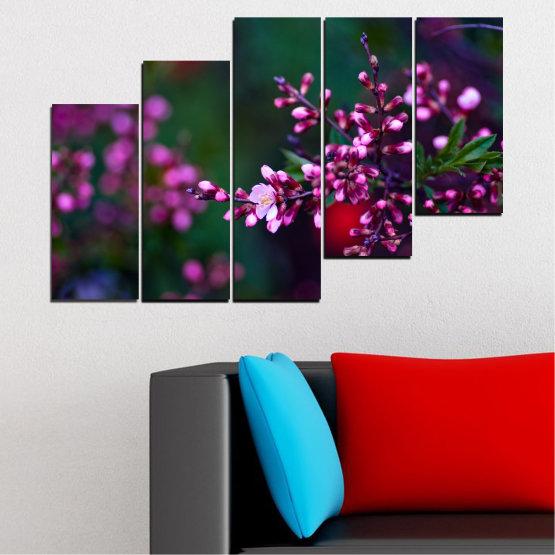 Εκτύπωση σε καμβά και διακοσμητικά πάνελ τοίχου - 5 τεμάχια №0278 » Κόκκινος, Μωβ, Πράσινος, Μαύρος, Σκούρο γκρι » Λουλούδια, Άνοιξη, Φρέσκο Form #8