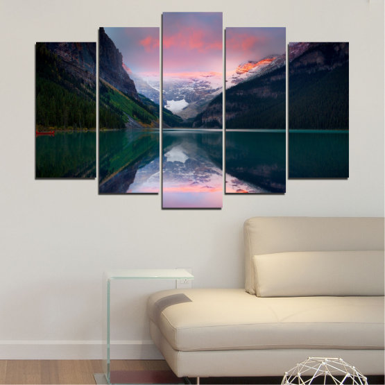 Canvas prints & wall decorative panels - 5 pieces №0279 » Black, Gray, Milky pink, Dark grey » Nature, Landscape, Water, Mountain, Reflection Form #1