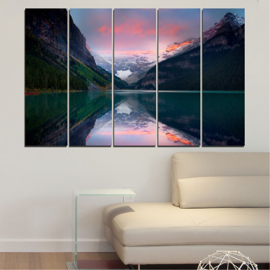 Canvas prints & wall decorative panels - 5 pieces №0279 » Black, Gray, Milky pink, Dark grey » Nature, Landscape, Water, Mountain, Reflection Form #2