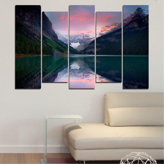 Canvas prints & wall decorative panels - 5 pieces №0279 » Black, Gray, Milky pink, Dark grey » Nature, Landscape, Water, Mountain, Reflection Form #3