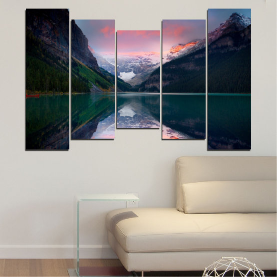 Canvas prints & wall decorative panels - 5 pieces №0279 » Black, Gray, Milky pink, Dark grey » Nature, Landscape, Water, Mountain, Reflection Form #4