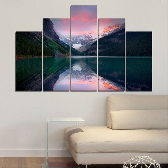Canvas prints & wall decorative panels - 5 pieces №0279 » Black, Gray, Milky pink, Dark grey » Nature, Landscape, Water, Mountain, Reflection Form #5