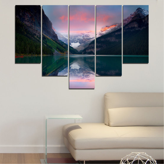 Canvas prints & wall decorative panels - 5 pieces №0279 » Black, Gray, Milky pink, Dark grey » Nature, Landscape, Water, Mountain, Reflection Form #6