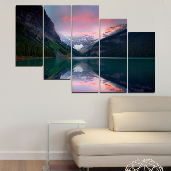 Canvas prints & wall decorative panels - 5 pieces №0279 » Black, Gray, Milky pink, Dark grey » Nature, Landscape, Water, Mountain, Reflection Form #7
