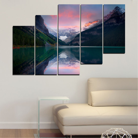 Canvas prints & wall decorative panels - 5 pieces №0279 » Black, Gray, Milky pink, Dark grey » Nature, Landscape, Water, Mountain, Reflection Form #8