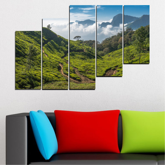 Canvas prints & wall decorative panels - 5 pieces №0028 » Green, Brown, Black, Gray, Dark grey » Landscape, Nature, Mountain, Meadow, Field Form #8