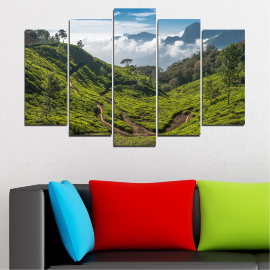 Canvas prints & wall decorative panels - 5 pieces №0028 » Green, Brown, Black, Gray, Dark grey » Landscape, Nature, Mountain, Meadow, Field Form #1