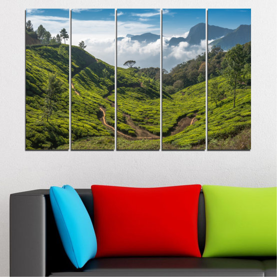 Canvas prints & wall decorative panels - 5 pieces №0028 » Green, Brown, Black, Gray, Dark grey » Nature, Landscape, Mountain, Meadow, Field Form #2