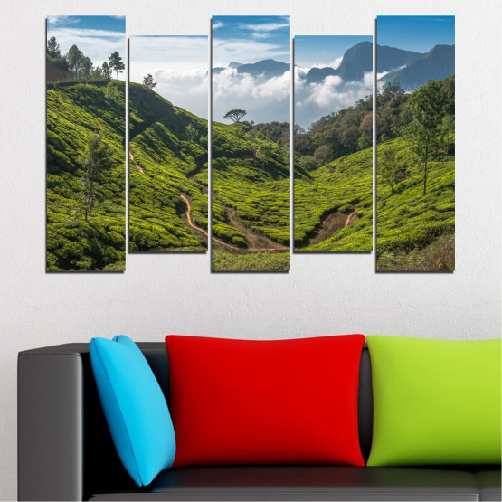 Canvas prints & wall decorative panels - 5 pieces №0028 » Green, Brown, Black, Gray, Dark grey » Landscape, Nature, Mountain, Meadow, Field Form #3