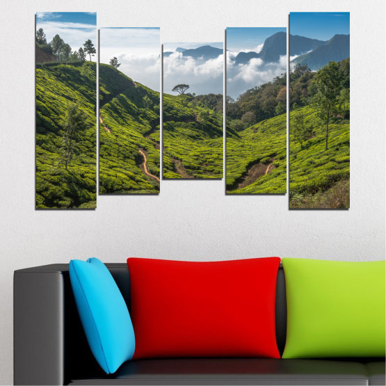 Canvas prints & wall decorative panels - 5 pieces №0028 » Green, Brown, Black, Gray, Dark grey » Landscape, Nature, Mountain, Meadow, Field Form #4