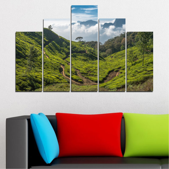 Canvas prints & wall decorative panels - 5 pieces №0028 » Green, Brown, Black, Gray, Dark grey » Landscape, Nature, Mountain, Meadow, Field Form #5