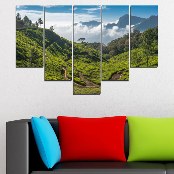 Canvas prints & wall decorative panels - 5 pieces №0028 » Green, Brown, Black, Gray, Dark grey » Landscape, Nature, Mountain, Meadow, Field Form #6