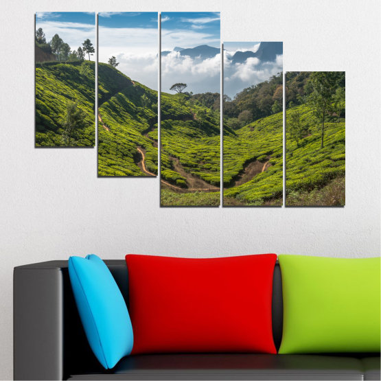 Canvas prints & wall decorative panels - 5 pieces №0028 » Green, Brown, Black, Gray, Dark grey » Landscape, Nature, Mountain, Meadow, Field Form #7