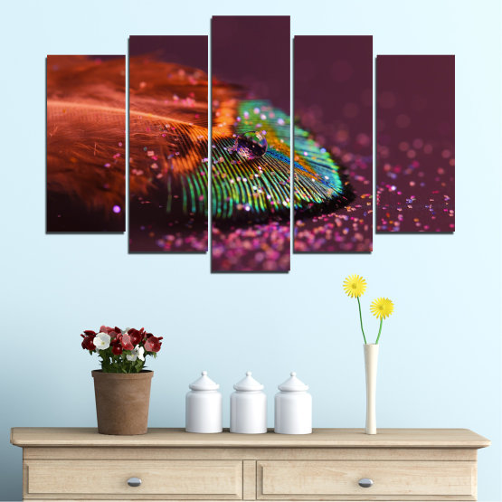 Canvas prints & wall decorative panels - 5 pieces №0280 » Red, Orange, Brown, Black, Dark grey » Abstraction, Drops, Colorful, Leaf Form #1