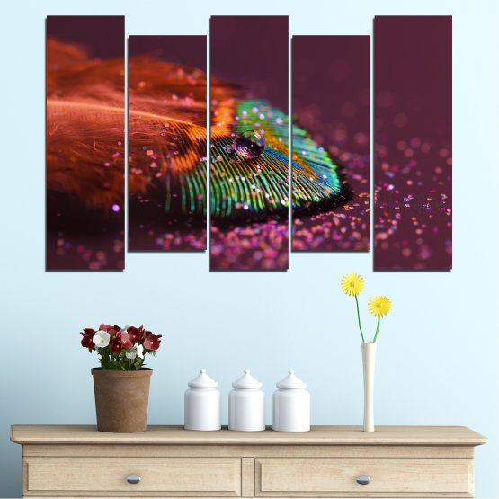 Canvas prints & wall decorative panels - 5 pieces №0280 » Red, Orange, Brown, Black, Dark grey » Abstraction, Drops, Colorful, Leaf Form #3