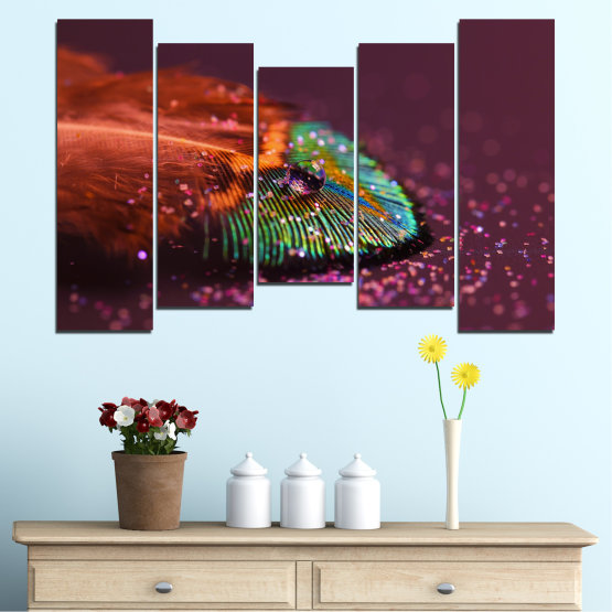 Canvas prints & wall decorative panels - 5 pieces №0280 » Red, Orange, Brown, Black, Dark grey » Abstraction, Drops, Colorful, Leaf Form #4