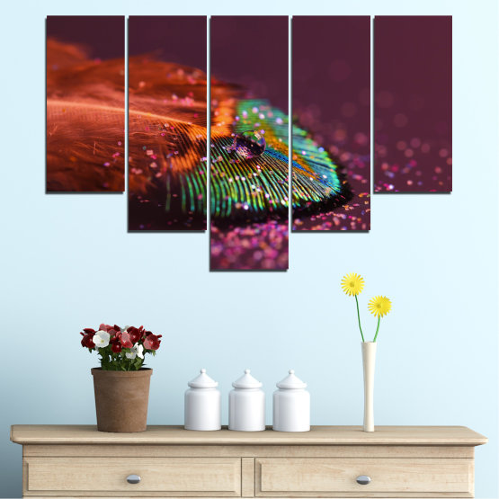 Canvas prints & wall decorative panels - 5 pieces №0280 » Red, Orange, Brown, Black, Dark grey » Abstraction, Drops, Colorful, Leaf Form #6