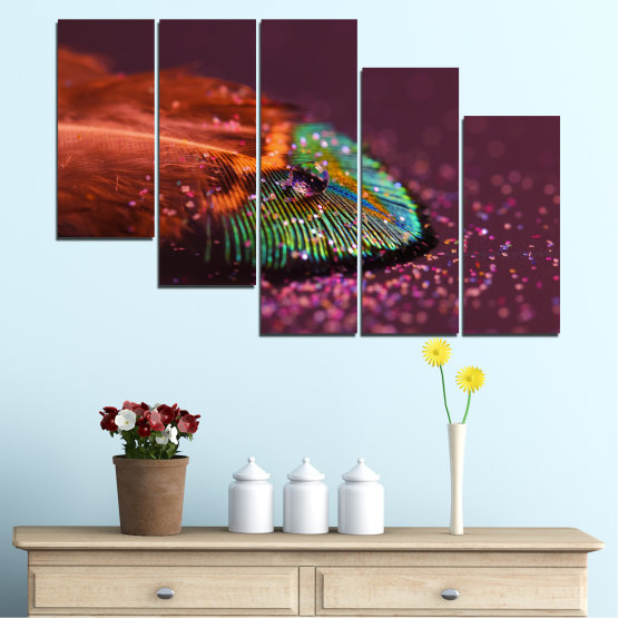Canvas prints & wall decorative panels - 5 pieces №0280 » Red, Orange, Brown, Black, Dark grey » Abstraction, Drops, Colorful, Leaf Form #7
