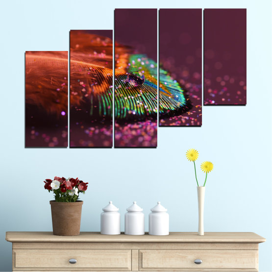 Canvas prints & wall decorative panels - 5 pieces №0280 » Red, Orange, Brown, Black, Dark grey » Abstraction, Drops, Colorful, Leaf Form #8