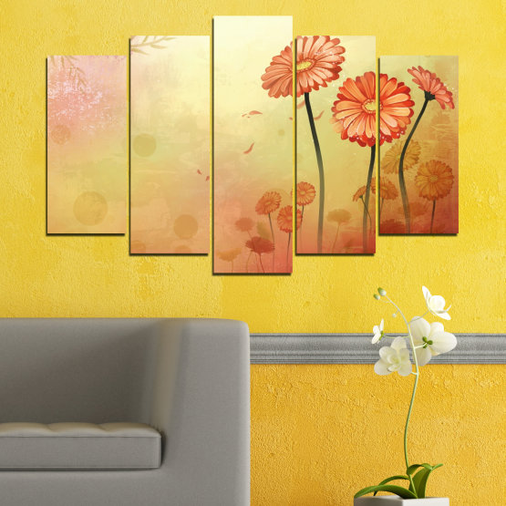 Canvas prints & wall decorative panels - 5 pieces №0281 » Green, Orange, Brown, White, Beige » Flowers, Drawing, Gerbera Form #1