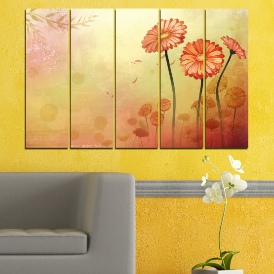 Canvas prints & wall decorative panels - 5 pieces №0281 » Green, Orange, Brown, White, Beige » Flowers, Drawing, Gerbera Form #2