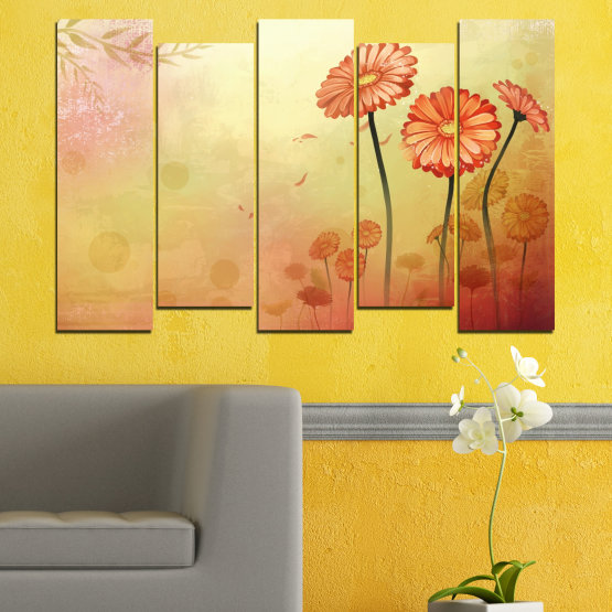 Canvas prints & wall decorative panels - 5 pieces №0281 » Green, Orange, Brown, White, Beige » Flowers, Drawing, Gerbera Form #3