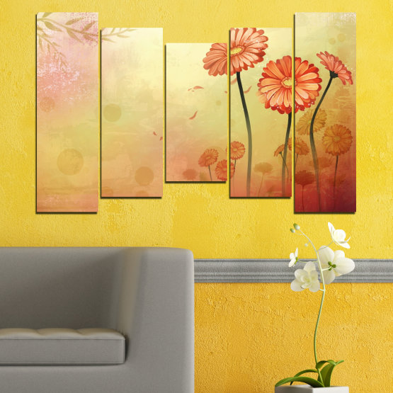 Canvas prints & wall decorative panels - 5 pieces №0281 » Green, Orange, Brown, White, Beige » Flowers, Drawing, Gerbera Form #4