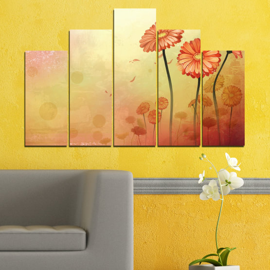 Canvas prints & wall decorative panels - 5 pieces №0281 » Green, Orange, Brown, White, Beige » Flowers, Drawing, Gerbera Form #5