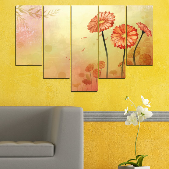 Canvas prints & wall decorative panels - 5 pieces №0281 » Green, Orange, Brown, White, Beige » Flowers, Drawing, Gerbera Form #6