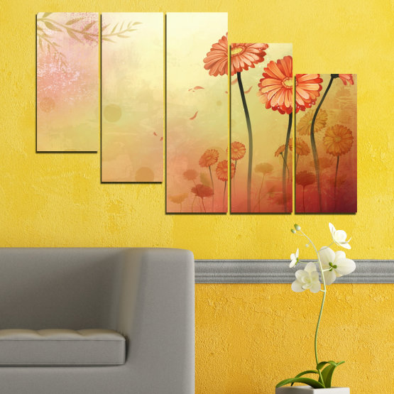Canvas prints & wall decorative panels - 5 pieces №0281 » Green, Orange, Brown, White, Beige » Flowers, Drawing, Gerbera Form #7