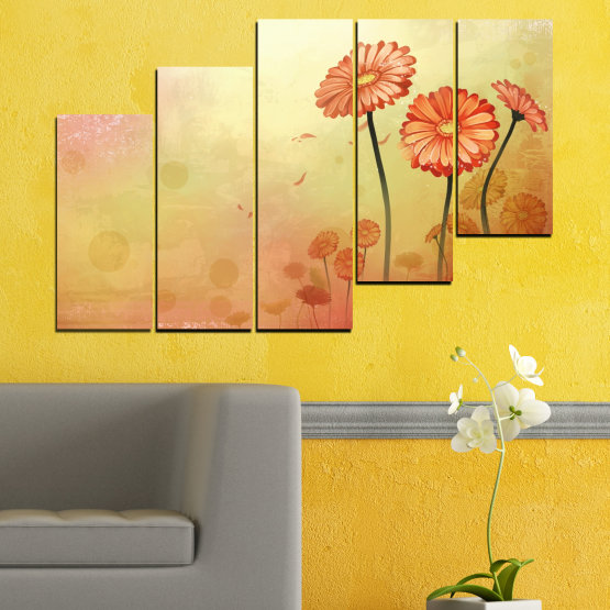 Canvas prints & wall decorative panels - 5 pieces №0281 » Green, Orange, Brown, White, Beige » Flowers, Drawing, Gerbera Form #8