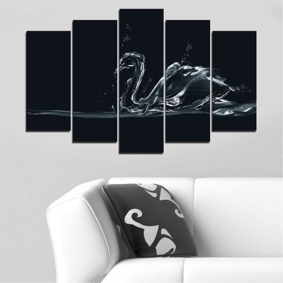 Canvas prints & wall decorative panels - 5 pieces №0283 » Black, Gray, White, Dark grey » Abstraction, Water, Swan Form #1