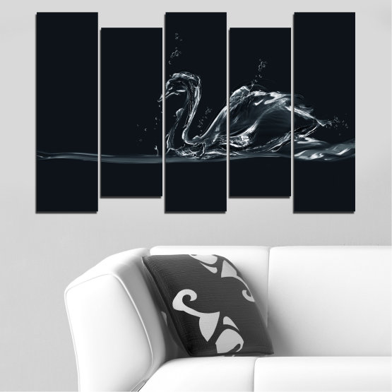 Canvas prints & wall decorative panels - 5 pieces №0283 » Black, Gray, White, Dark grey » Abstraction, Water, Swan Form #3