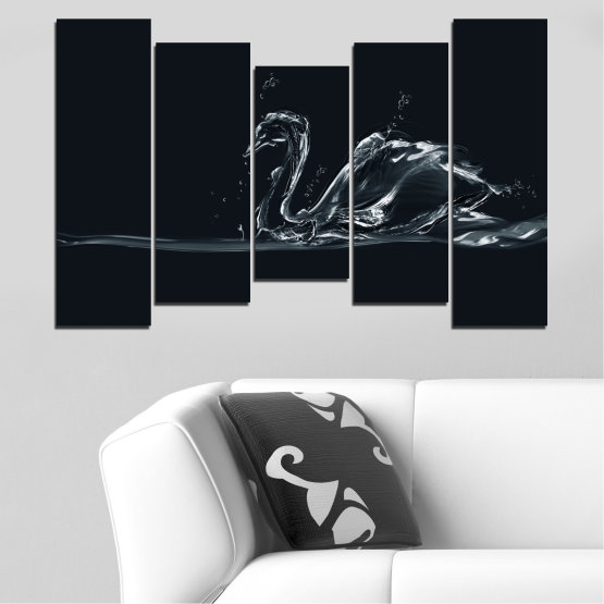 Canvas prints & wall decorative panels - 5 pieces №0283 » Black, Gray, White, Dark grey » Abstraction, Water, Swan Form #4