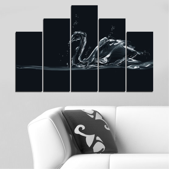 Canvas prints & wall decorative panels - 5 pieces №0283 » Black, Gray, White, Dark grey » Abstraction, Water, Swan Form #5