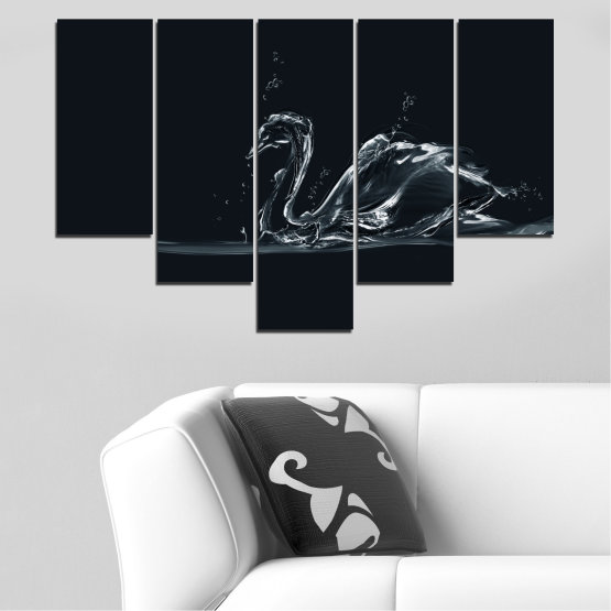 Canvas prints & wall decorative panels - 5 pieces №0283 » Black, Gray, White, Dark grey » Abstraction, Water, Swan Form #6