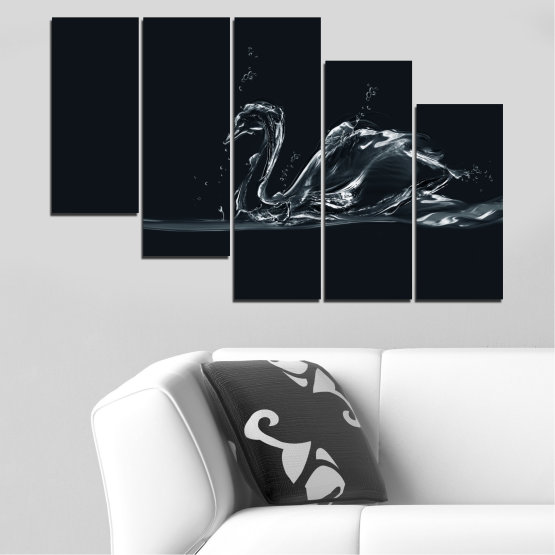 Canvas prints & wall decorative panels - 5 pieces №0283 » Black, Gray, White, Dark grey » Abstraction, Water, Swan Form #7