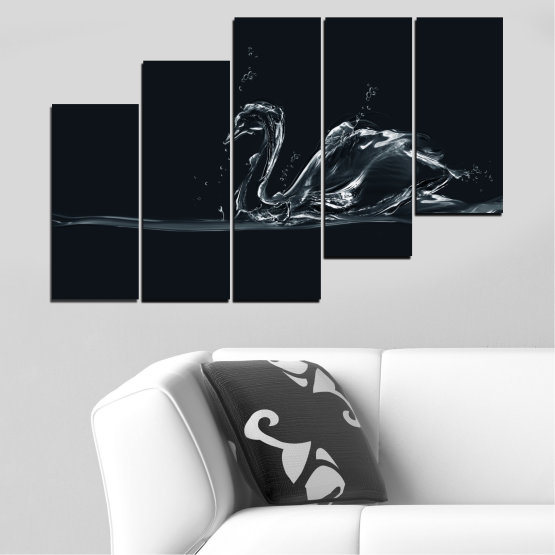 Canvas prints & wall decorative panels - 5 pieces №0283 » Black, Gray, White, Dark grey » Abstraction, Water, Swan Form #8