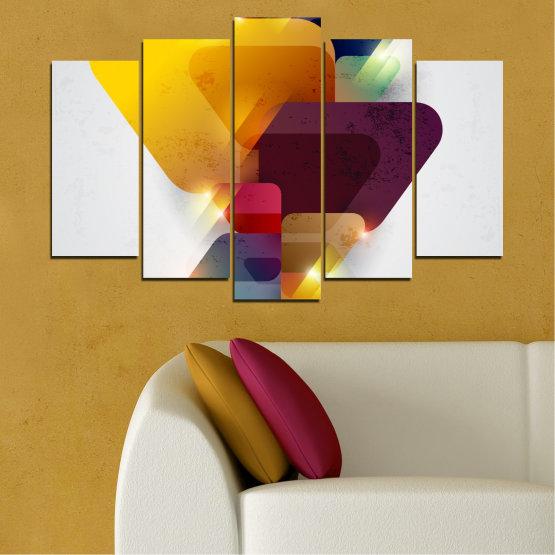 Декоративни панели и картини от канава - от 5 части №0284 » Жълт, Сив, Бял, Тъмно сив » Абстракция, Блестящ, Цветен Form #1