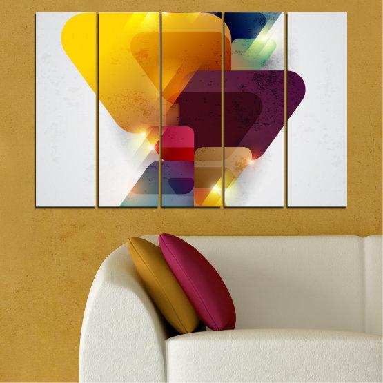 Декоративни панели и картини от канава - от 5 части №0284 » Жълт, Сив, Бял, Тъмно сив » Абстракция, Блестящ, Цветен Form #2