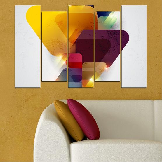 Декоративни панели и картини от канава - от 5 части №0284 » Жълт, Сив, Бял, Тъмно сив » Абстракция, Блестящ, Цветен Form #3