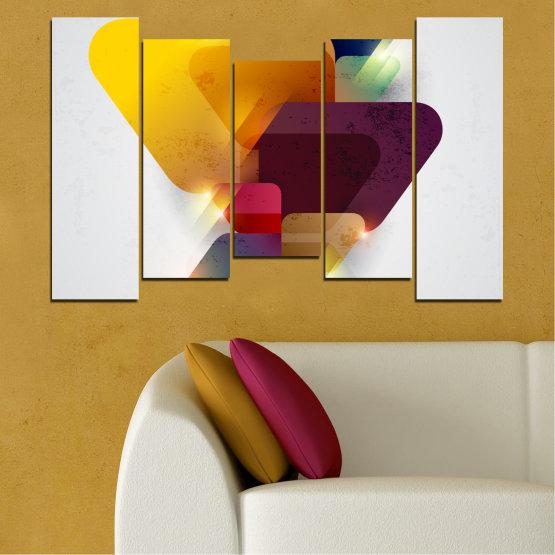 Декоративни панели и картини от канава - от 5 части №0284 » Жълт, Сив, Бял, Тъмно сив » Абстракция, Блестящ, Цветен Form #4