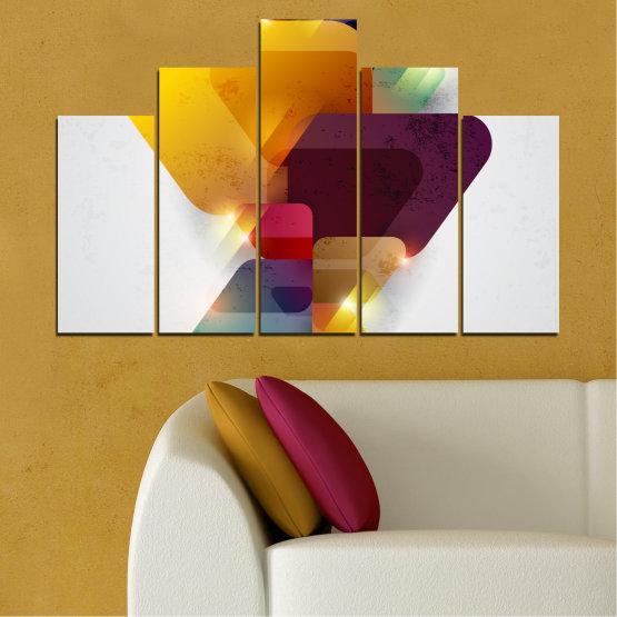 Декоративни панели и картини от канава - от 5 части №0284 » Жълт, Сив, Бял, Тъмно сив » Абстракция, Блестящ, Цветен Form #5