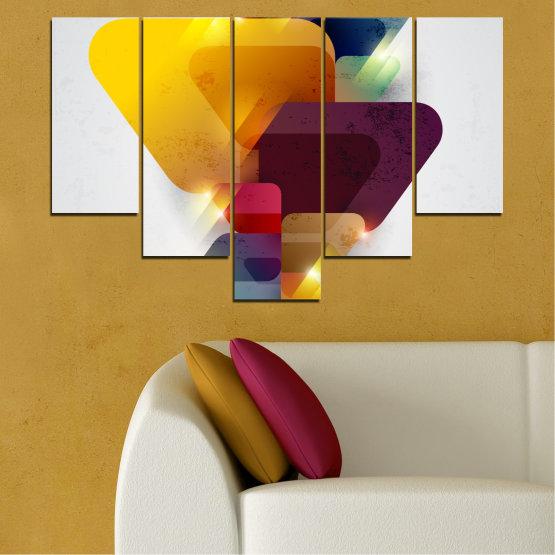 Декоративни панели и картини от канава - от 5 части №0284 » Жълт, Сив, Бял, Тъмно сив » Абстракция, Блестящ, Цветен Form #6