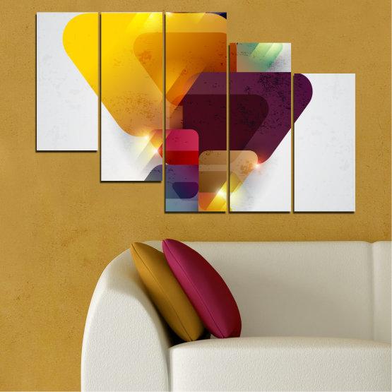 Декоративни панели и картини от канава - от 5 части №0284 » Жълт, Сив, Бял, Тъмно сив » Абстракция, Блестящ, Цветен Form #7