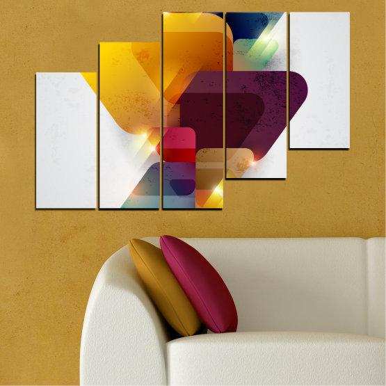 Декоративни панели и картини от канава - от 5 части №0284 » Жълт, Сив, Бял, Тъмно сив » Абстракция, Блестящ, Цветен Form #8