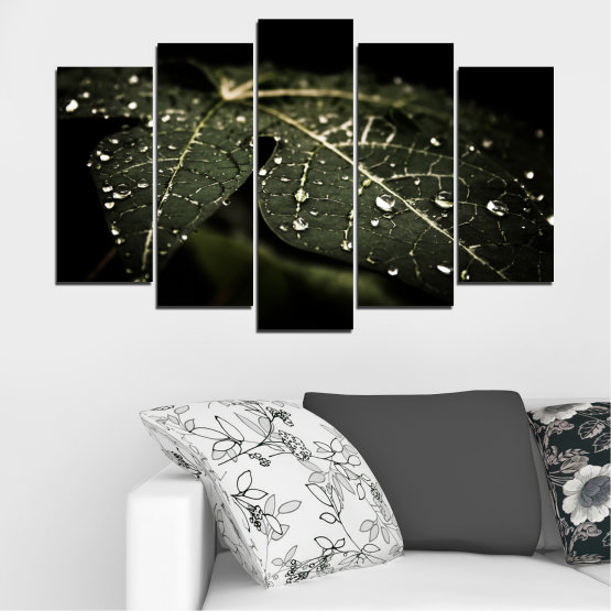Canvas prints & wall decorative panels - 5 pieces №0285 » Green, Brown, Black, Gray, Dark grey » Nature, Drops, Leaf Form #1