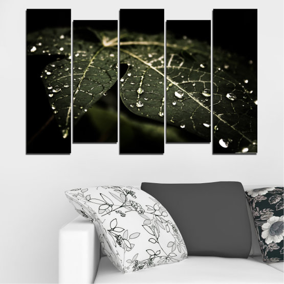 Canvas prints & wall decorative panels - 5 pieces №0285 » Green, Brown, Black, Gray, Dark grey » Nature, Drops, Leaf Form #3